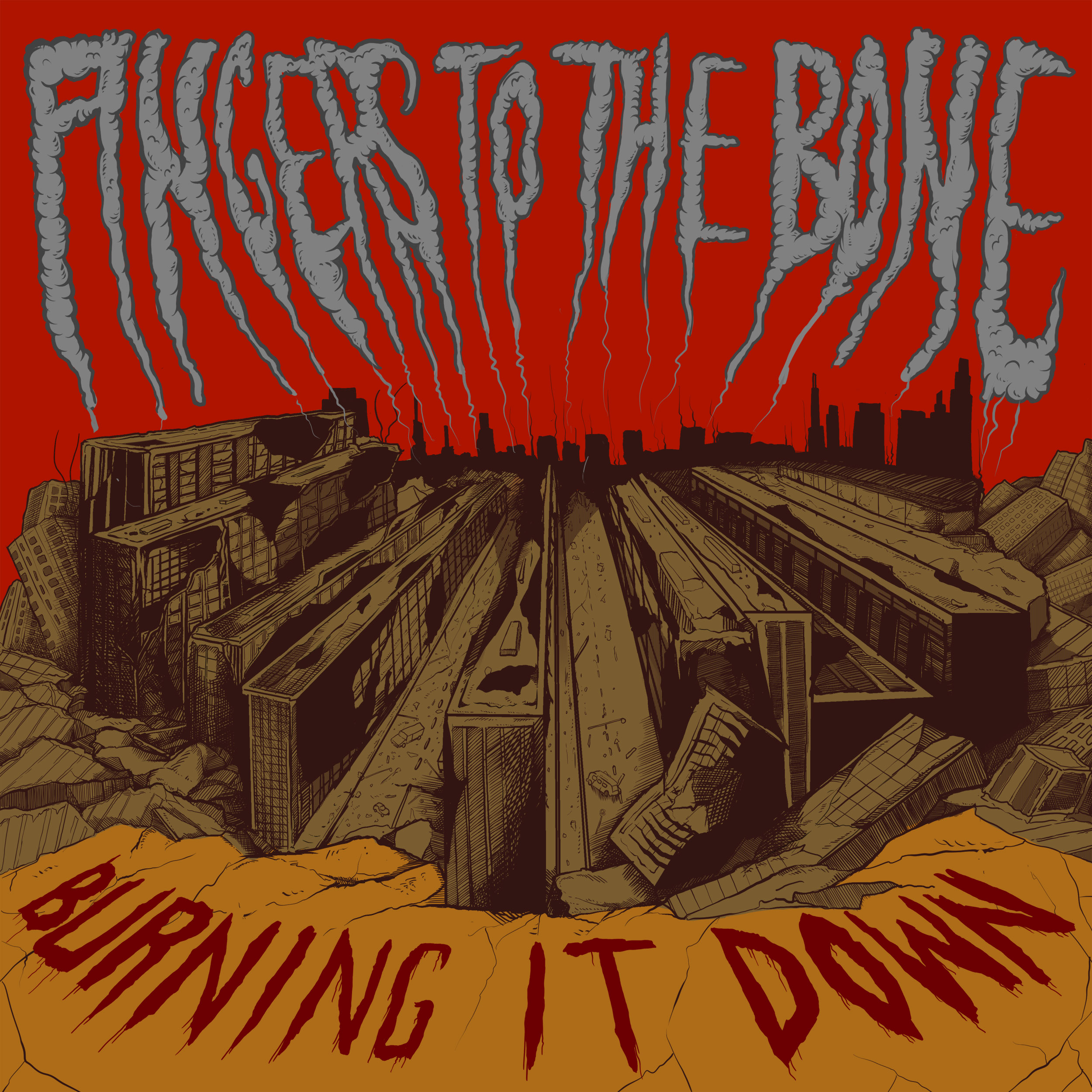 Fingers to the bone harcore bologna - cover artwork by giovanni tamponi illustration