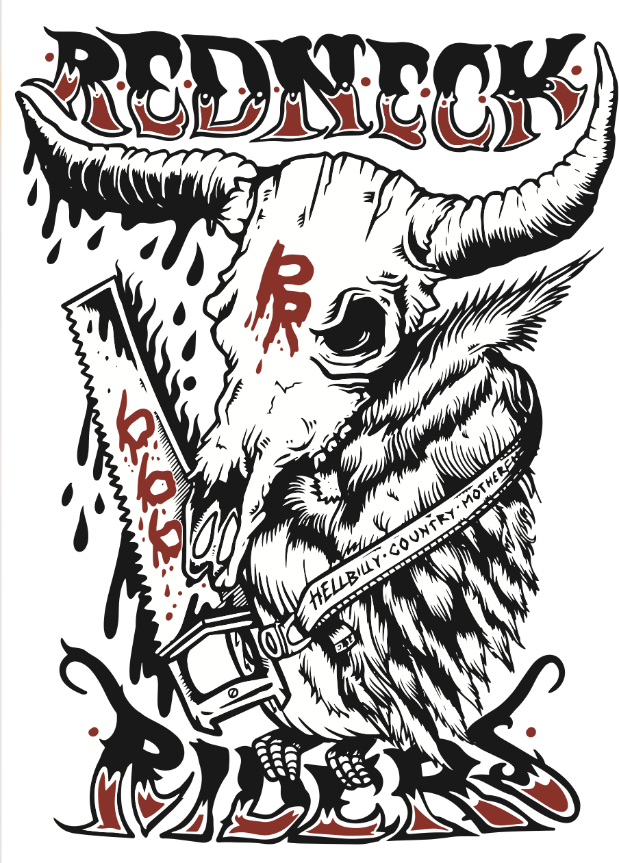 Redneck riders t-shirt design - artwork by giovanni tamponi illustration