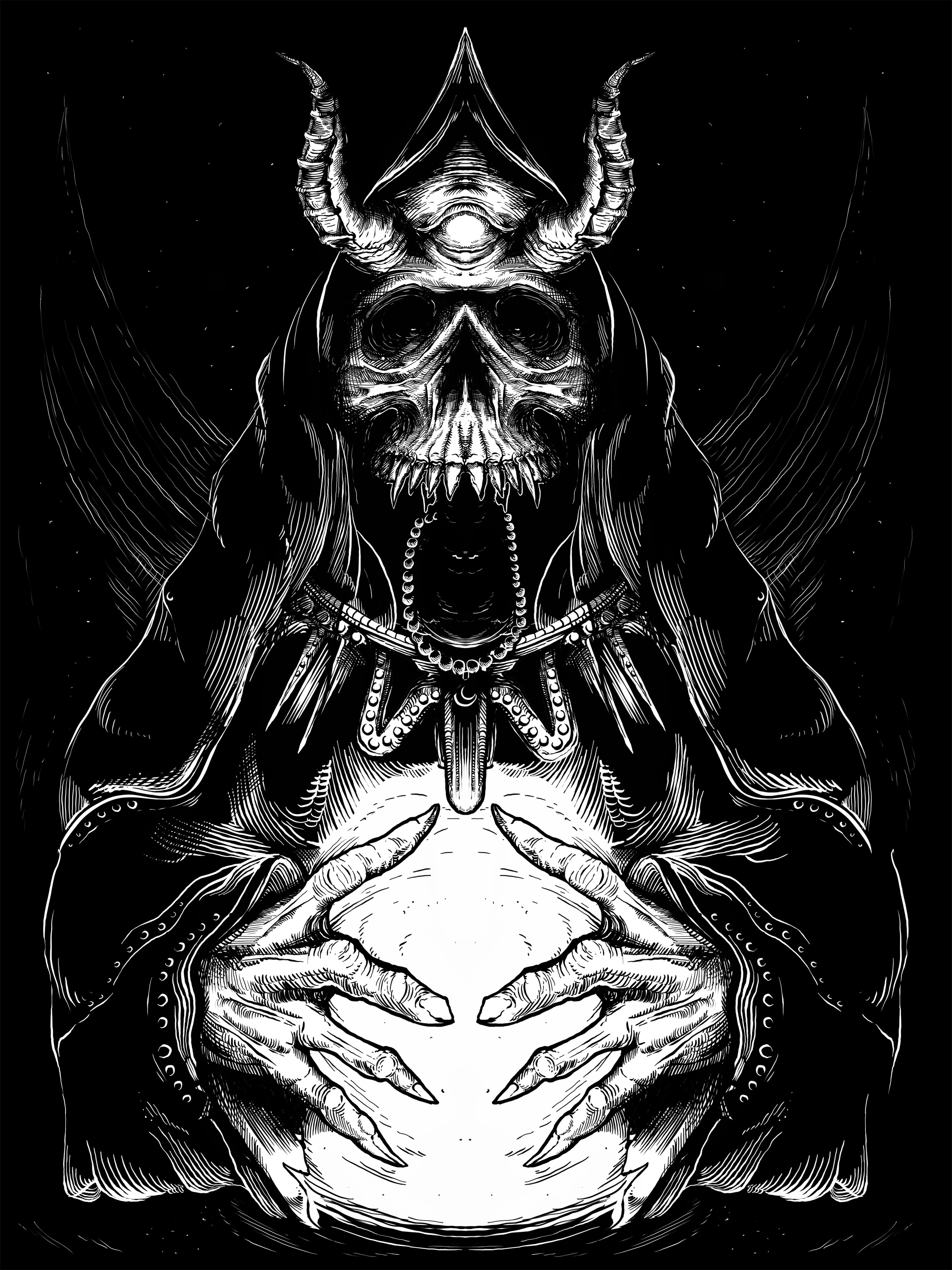 Satan Priest worshipping - designed by Giovanni Tamponi illustrations