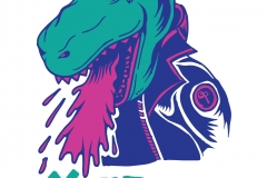Jurassisc punk dinosaur throw up over your point - aartwork designed by giovanni tamponi illustrations