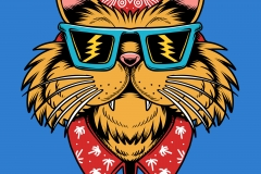 Californian-Cat-drawn-by-Joe-Tamponi-Creepy-Funny-llustrations-inspired-by-punk-rock-surfing-and-skateboarding-world