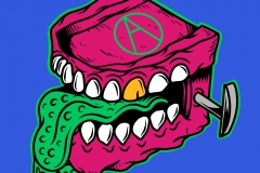 Chattering-Teeth-Killer-denture-drawn-by-Joe-Tamponi-Creepy-Funny-llustrations-inspired-by-punk-rock-surfing-and-skateboarding-world