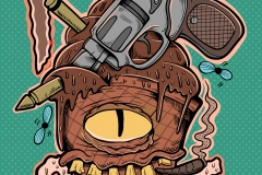 Fuck-Guns-drawn-by-Joe-Tamponi-Creepy-Funny-llustrations-inspired-by-punk-rock-surfing-and-skateboarding-world