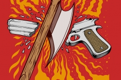 Gun-safety-Rule-number-zero-drawn-by-Joe-Tamponi-Creepy-Funny-llustrations-inspired-by-punk-rock-surfing-and-skateboarding-world