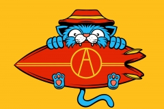 Surfer-Cat-drawn-by-Joe-Tamponi-Creepy-Funny-llustrations-inspired-by-punk-rock-surfing-and-skateboarding-world