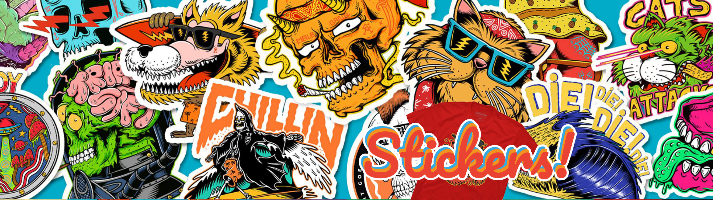 Cool laptop stickers inspired by the most famous skateboarding brands.