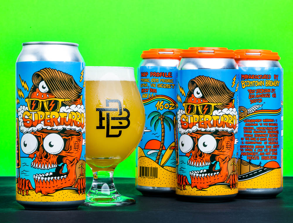 The whole concept of the beer can illustration was based on a road trip in California designed in a super eye catchy, vintage, 80s skateboarding lowbrow style inspired graphic.